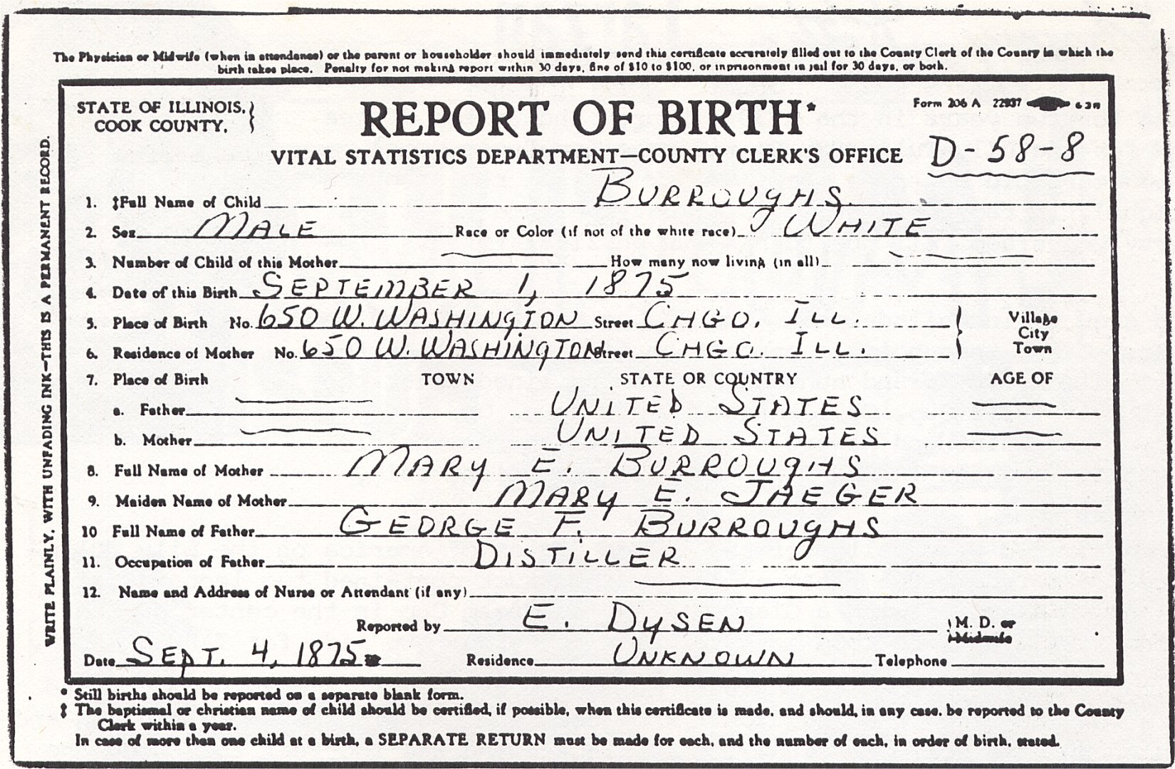 Erbzine 2727 erb eclectica 200905 birth certificate of edgar rice burroughs note his mothers maiden name should be zieger and his fathers middle initial should be t for tyler aiddatafo Choice Image
