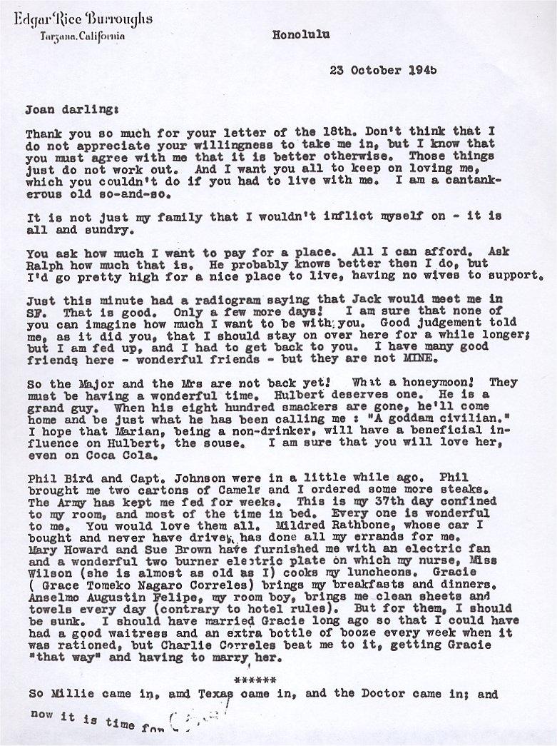 23 October 1945 Joan Darling: Thank You ...