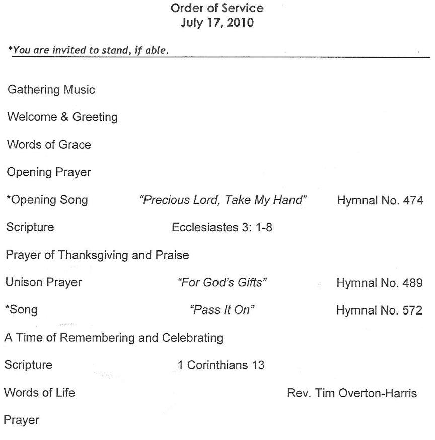 Erbzine A Church Programme