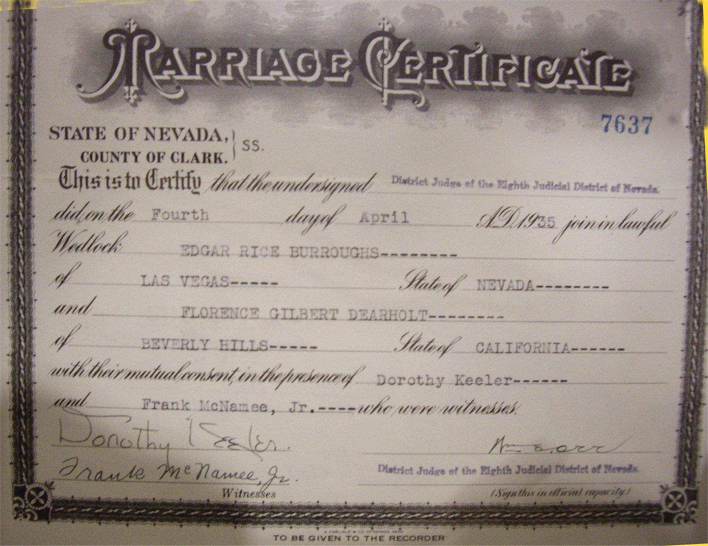 Erbzine 4119 lee chase erb photos marriage certificate april 4 1935 las vegas 1betcityfo Gallery
