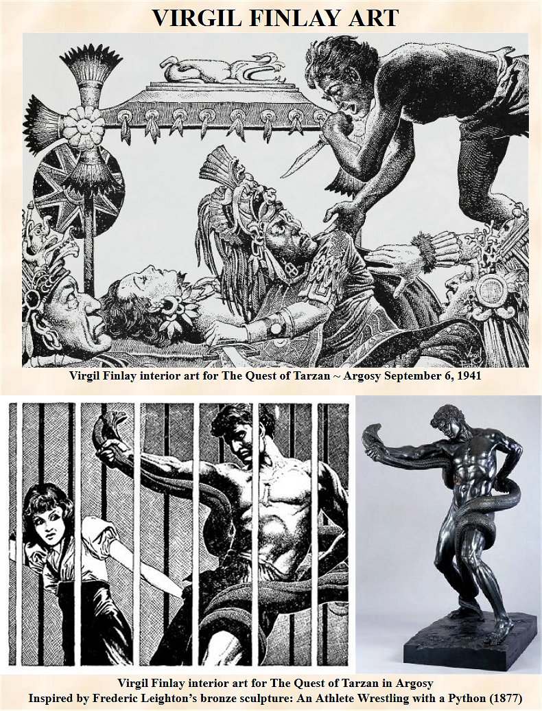 virgil finlay interior art for the quest of tarzan in argosy inspired by frederic leightons bronze sculpture an athlete wrestling with a python 1877 - Quest Bergroer Sessel
